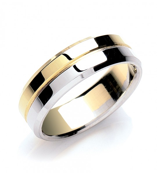 7MM FLAT COURT TWO COLOUR WEDDING BAND