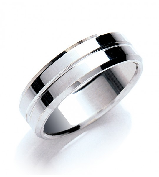 7MM FLAT COURT BEVELLED EDGE CENTRE GROOVE POLISH WEDDING BAND