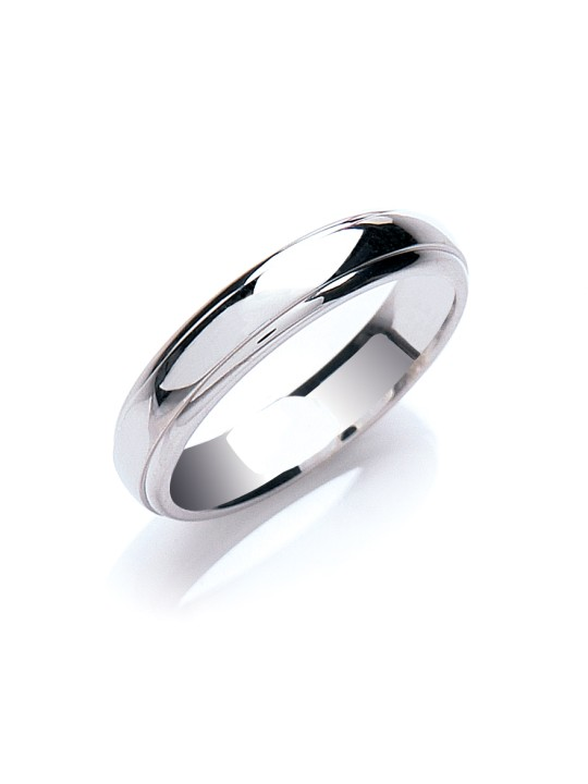 4MM COURT TRACK EDGE WEDDING BAND
