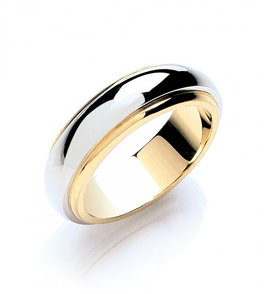 6MM TWO COLOUR STEP-CUT D-SHAPE WEDDING BAND