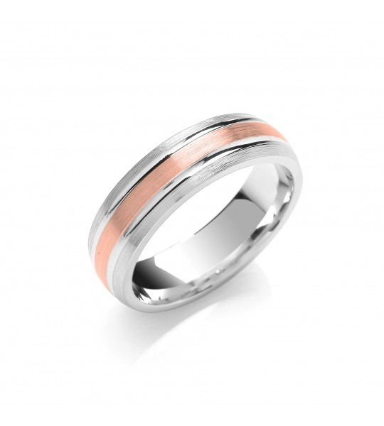 6MM TWO COLOUR MATT CENTRE PARALLEL GROOVE WEDDING BAND