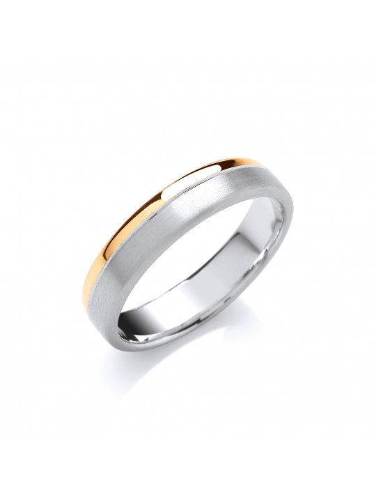5MM COURT TWO COLOUR MATT & POLISHED FINISH GROOVE WEDDING BAND