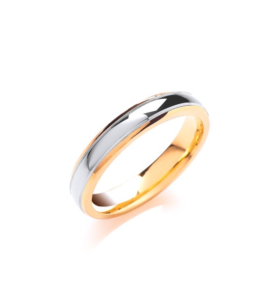 4MM COURT TRACK EDGE TWO COLOUR WEDDING BAND