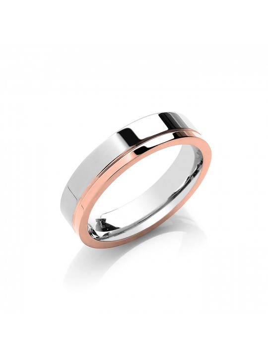 5MM FLAT COURT TWO COLOUR SIDE GROOVE WEDDING BAND