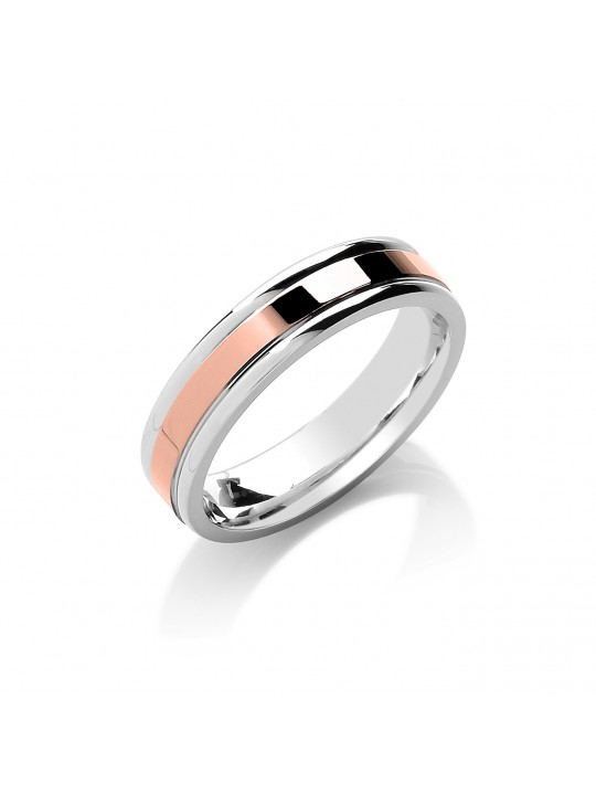 5MM FLAT COURT TWO COLOUR WITH PARALLEL GROOVE WEDDING BAND