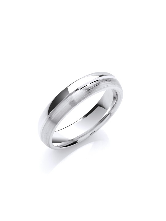 5MM COURT MATT & POLISHED FINISH GROOVE WEDDING BAND