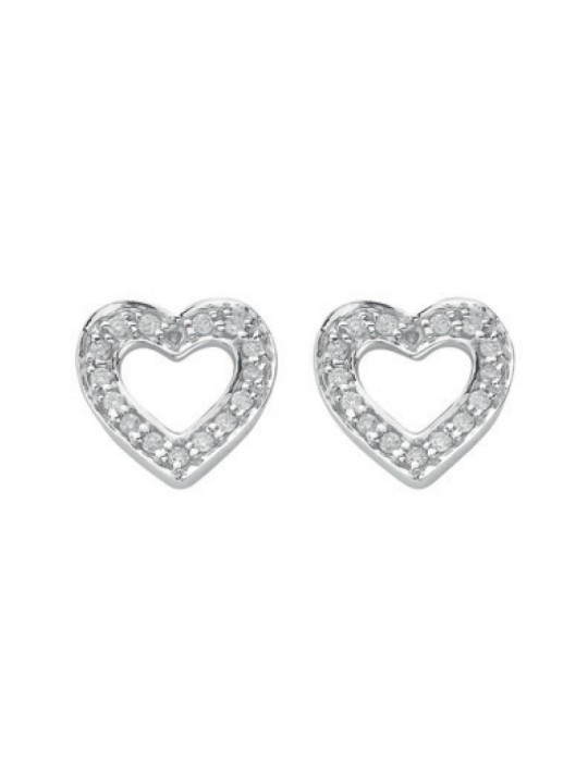 18K WHITE GOLD 0.18K DIAMOND HEART STUD EARRINGS