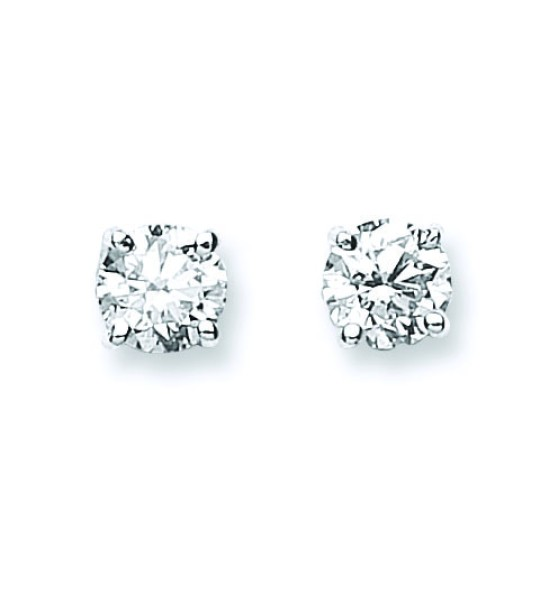 18K WHITE GOLD 1.00CT CLAW SET DIAMOND STUD EARRINGS