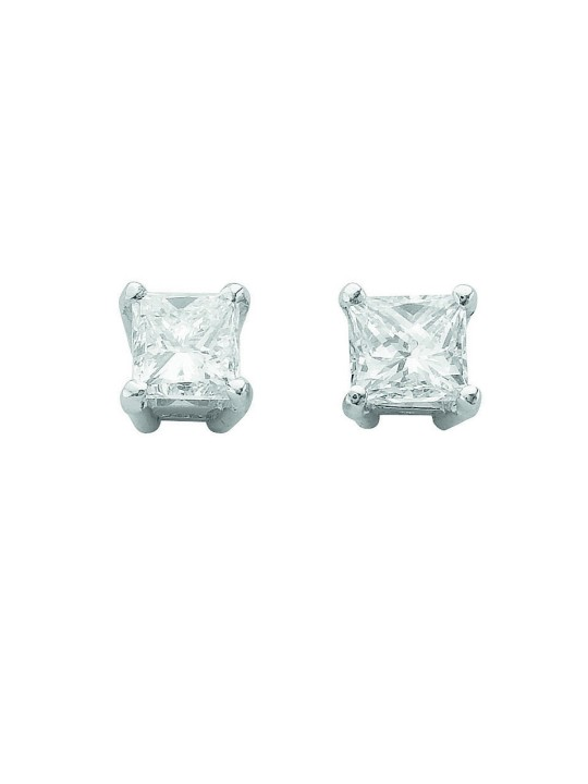 18K WHITE GOLD 1.00CT CLAW SET PRINCESS CUT DIAMOND STUD EARRINGS