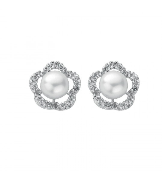 9K WHITE GOLD 0.17CT DIAMOND & PEARL STUD EARRINGS