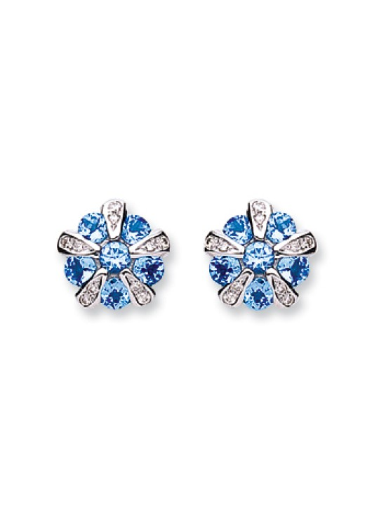 9K WHITE GOLD 0.08CT DIAMOND & 1.20CT TANZANITE EARRINGS