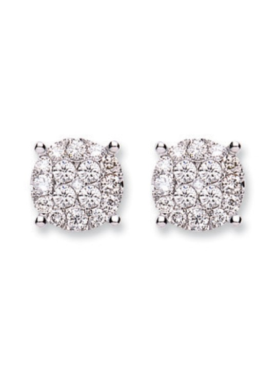 18K WHITE GOLD 1.00CT CLUSTER DIAMOND STUDS