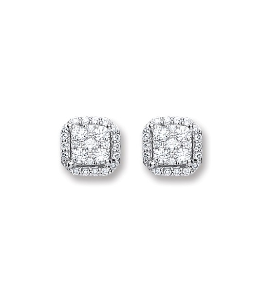 18K WHITE GOLD 0.22CT DIAMOND STUD EARRINGS