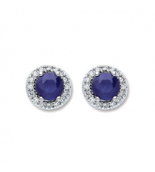 9K WHITE GOLD 0.15CT DIAMOND 1.2CT 5MM ROUND SAPPHIRE STUD EARRINGS
