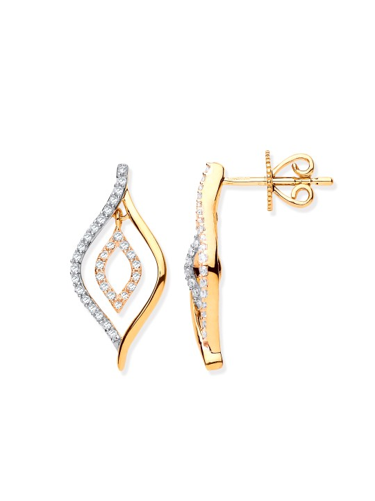 9K YELLOW GOLD 0.25CT DIAMOND DROP EARRINGS