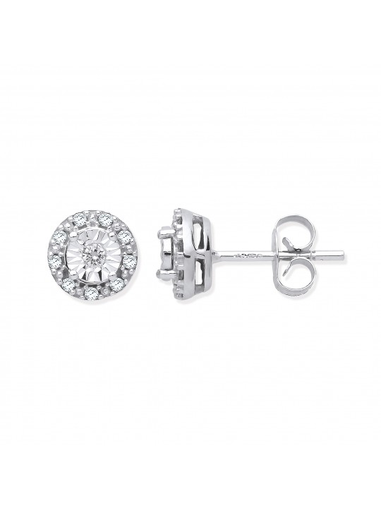 9K WHITE GOLD 0.13CT DIAMOND STUD EARRINGS