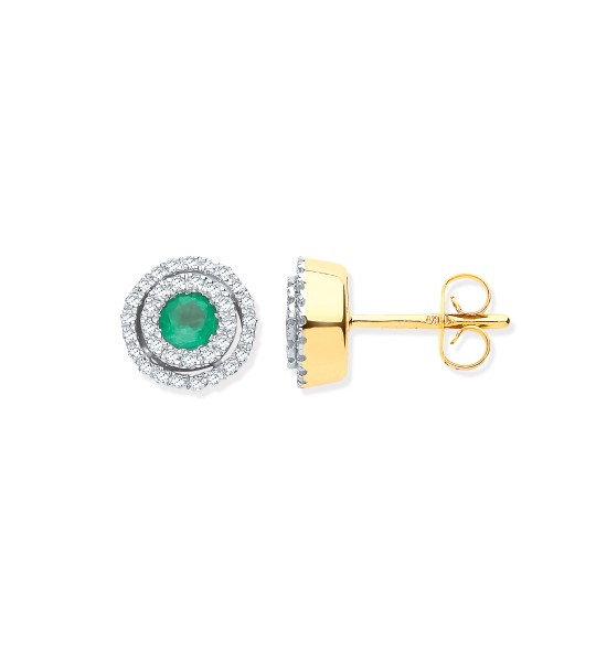 9K YG DOUBLE HALO DIAMOND & EMERALD ROUND STUD EARRINGS