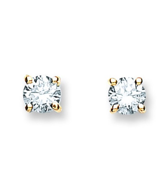 18K YELLOW GOLD 0.40CT CLAW SET DIAMOND STUD EARRINGS