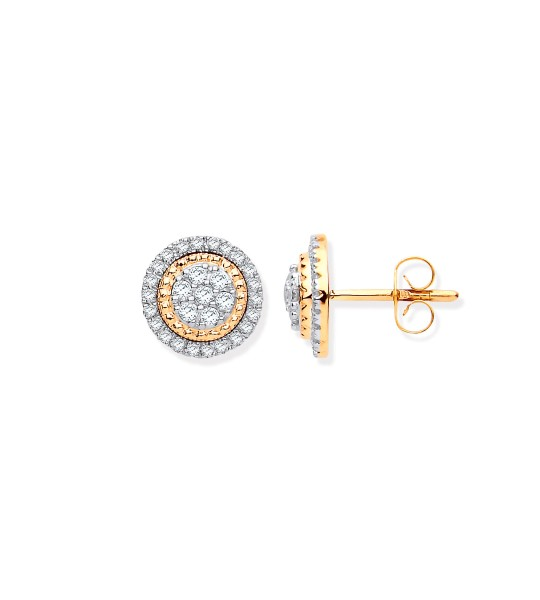 9K YELLOW GOLD MULTY CIRCLES STUD DIAMOND 0.36CT EARRINGS