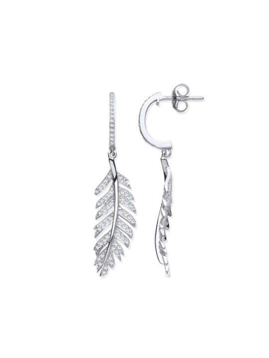 9K WHITE GOLD FEATHER DROP 0.40CT DIAMOND EARRINGS