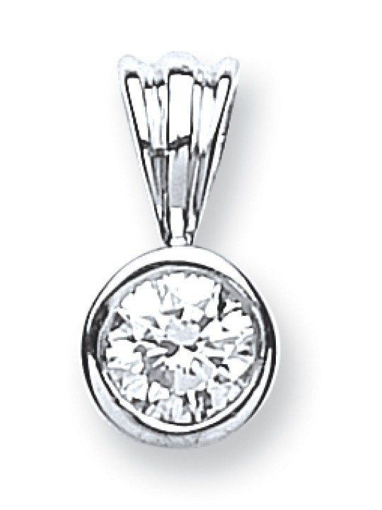 18K WHITE GOLD 0.25CT RUBOVER SET DIAMOND PENDANT