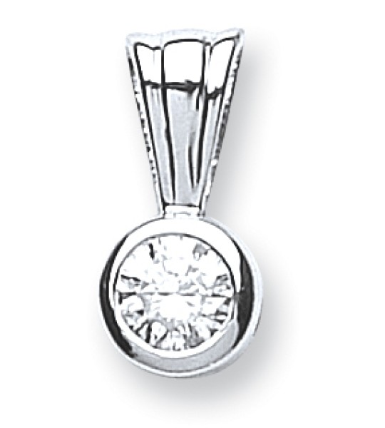 18K WHITE GOLD 0.15CT RUBOVER SET DIAMOND PENDANT