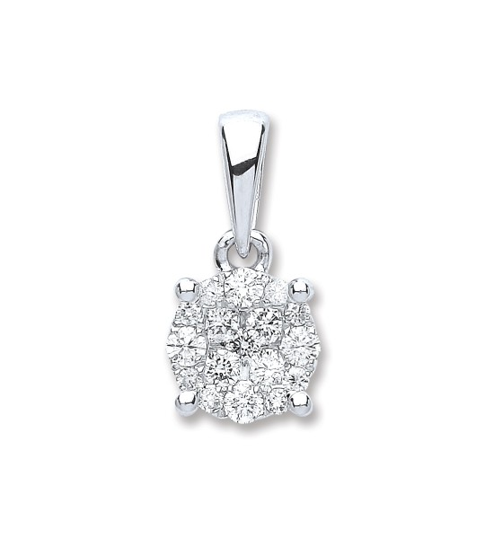 18K WHITE GOLD 0.25CT DIAMOND CLUSTER PENDANT