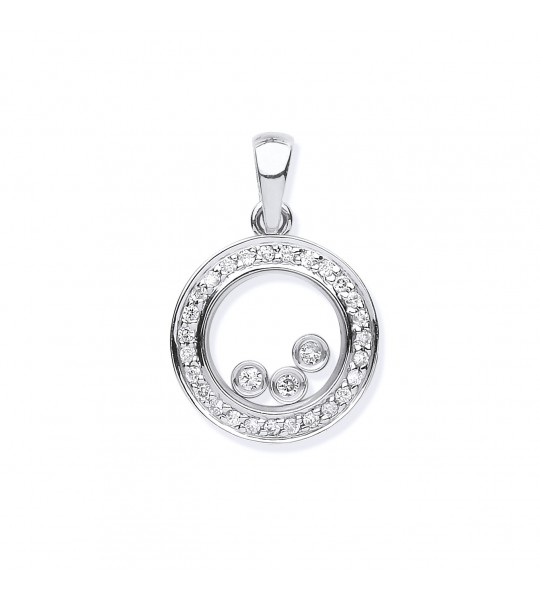 9K WHITE GOLD 0.12CT FLOATING DIAMOND PENDANT