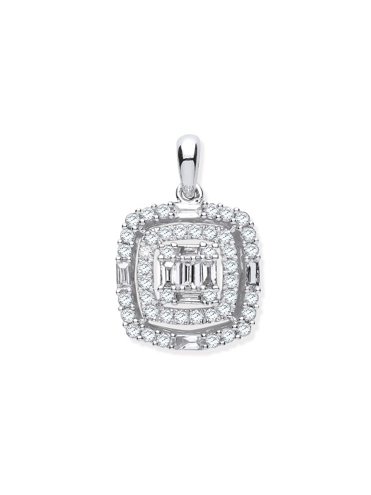 9K WHITE GOLD 0.59K CUSHION SHAPED DIAMOND PENDANT