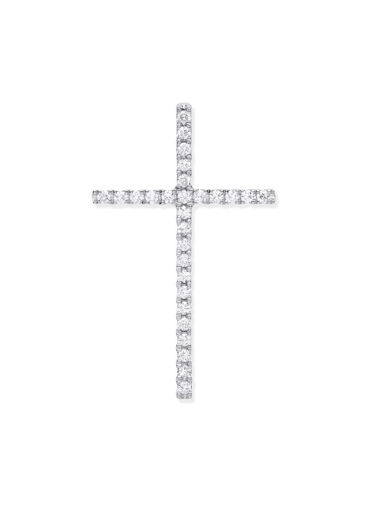 18K WHITE GOLD 0.35CT DIAMOND SET CROSS
