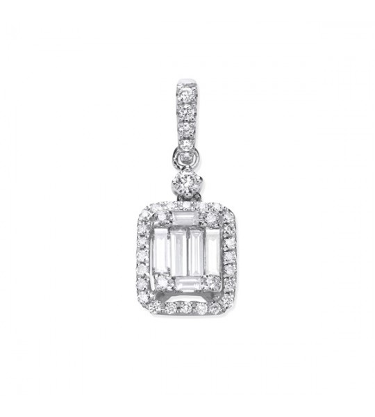18K WHITE GOLD 0.40CT BAGUETTE & BRILLIANT CUT DIAMOND RECTANGLE HALO PENDANT