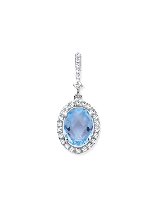 9K WHITE GOLD 1.77CT OVAL BLUE TOPAZ & 0.17CT DIAMOND PENDANT