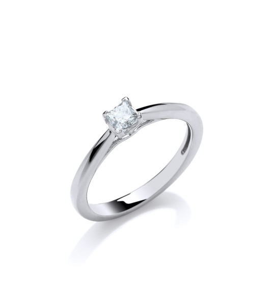 18K WHITE GOLD 0.25CT PRINCESS CUT DIAMOND ENGAGEMENT RING