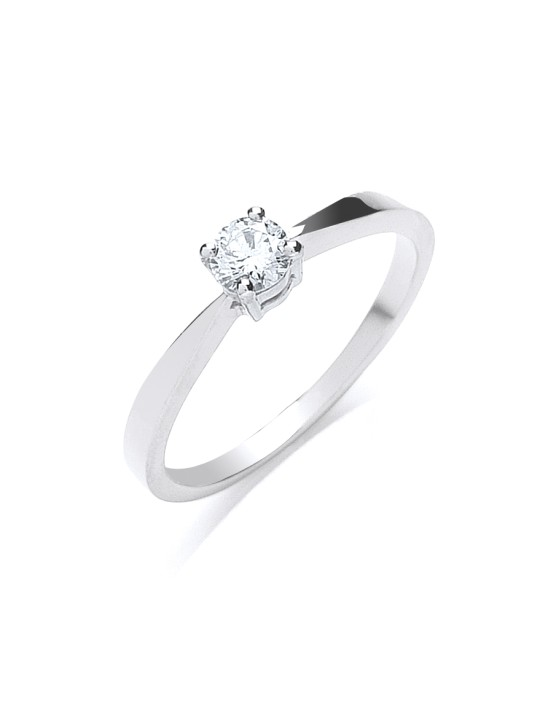 18K WHITE GOLD 0.25CT DIAMOND ENGAGEMENT RING