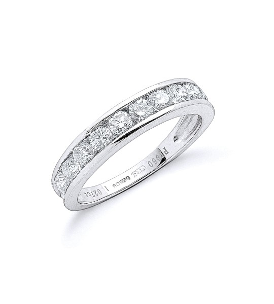 PLATINUM 1.00CT G/H-VS PRINCESS CUT ETERNITY DIAMOND RING