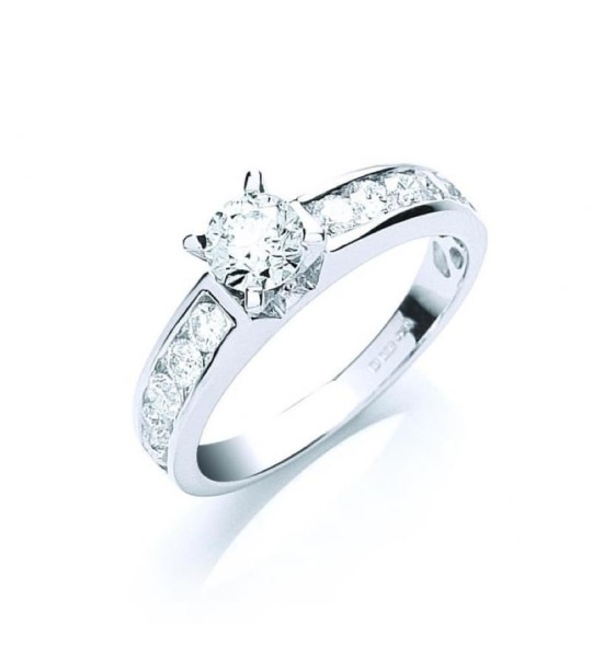 18K WHITE GOLD 1.00CT BRILLIANT CUT CENTRE DIAMOND RING
