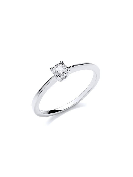 9K WHITE GOLD 0.10CT SOLITAIRE RING