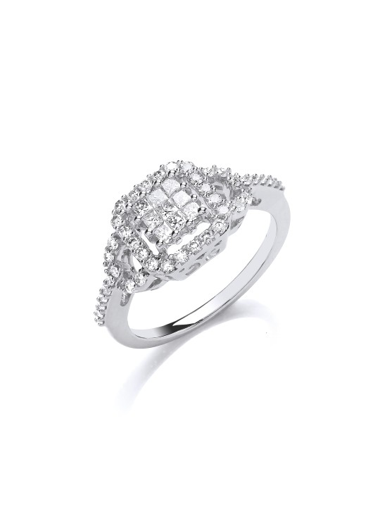 18K WHITE GOLD 0.50CT SQUARE HALO RING