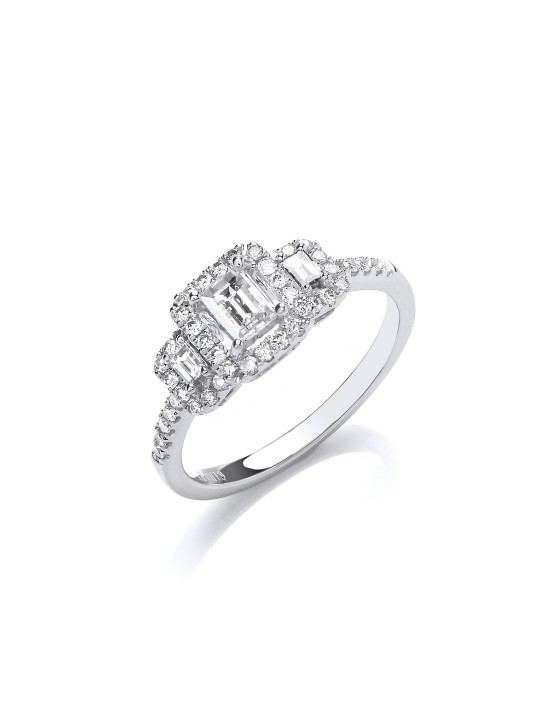 18K WHITE GOLD EMERALD CUT 0.75CT HALO STYLETRILOGY RING