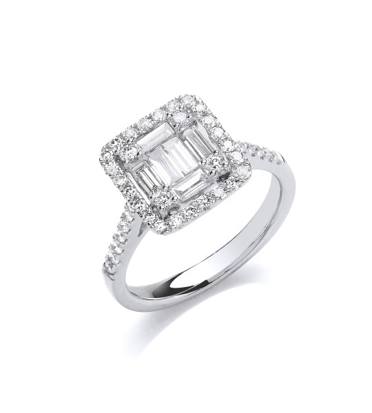 18K WHITE GOLD 1.00CT SQUARE HALO STYLE RING