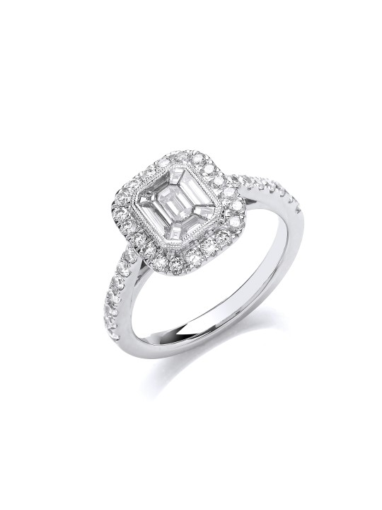 18K WHITE GOLD 1.00CT EMERALD CUT STYLE HALO STYLE RING