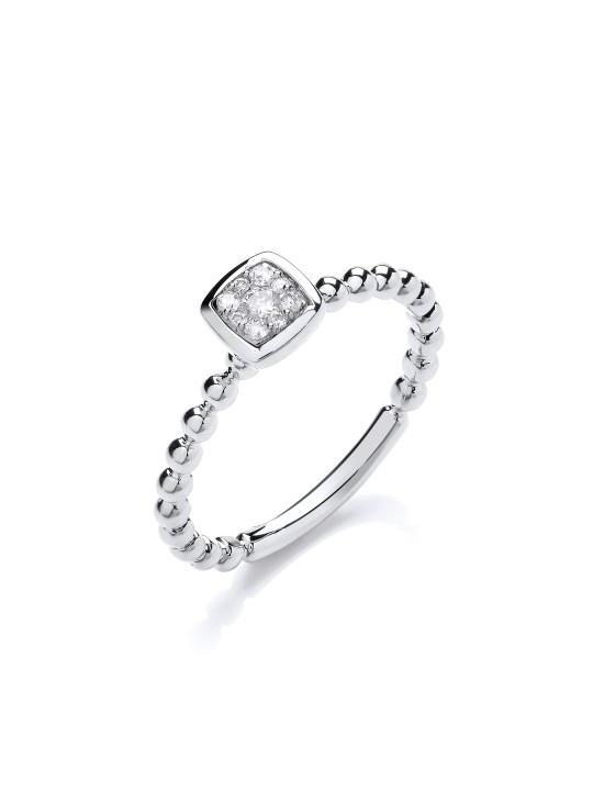 9K WHITE GOLD 0.10CT BEADED SHANK SQUARE TOP RING