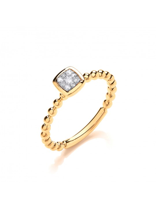 9K YELLOW GOLD 0.10CT BEADED SHANK SQUARE TOP RING