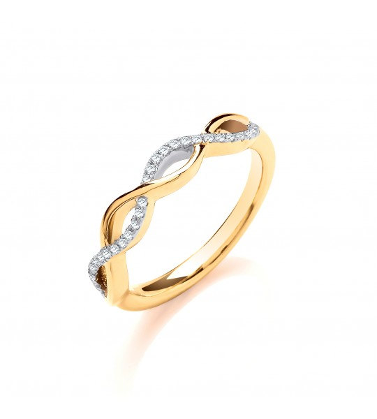9K YELLOW GOLD 0.10CT ENTWINED DIAMOND RING
