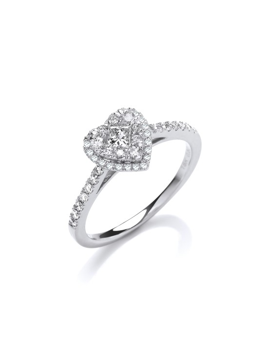 18K HEART SHAPED 0.50CT DRESS RING.