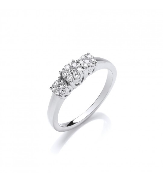 9K WHITE GOLD ILLUSION CLUSTERS TRILOGY 0.25CT DIAMOND RING