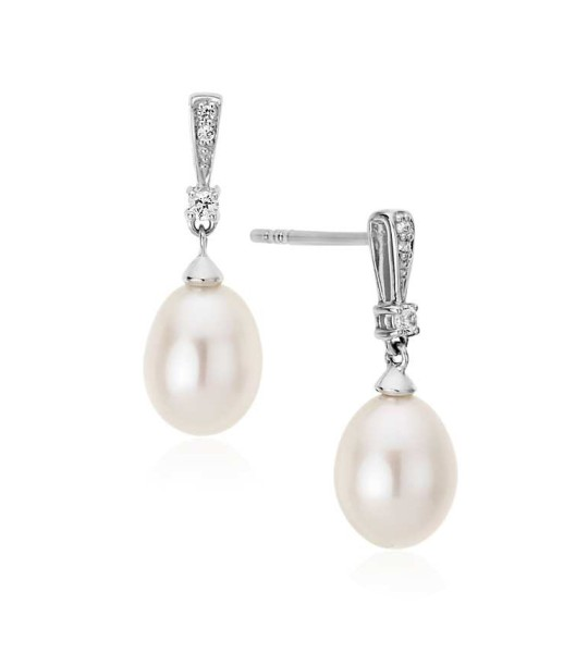 PEARL AND WHITE SAPPHIRE DROP EARRINGS