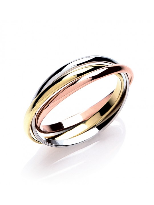 RUSSIAN WEDDING BAND – 2MM YELLOW WHITE & ROSE GOLD