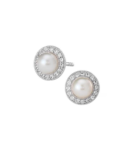 PEARL AND WHITE SAPPHIRE HALO EARRINGS